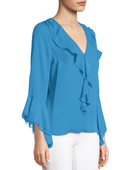 Julianna Ruffle-Trim Silk Blouse
