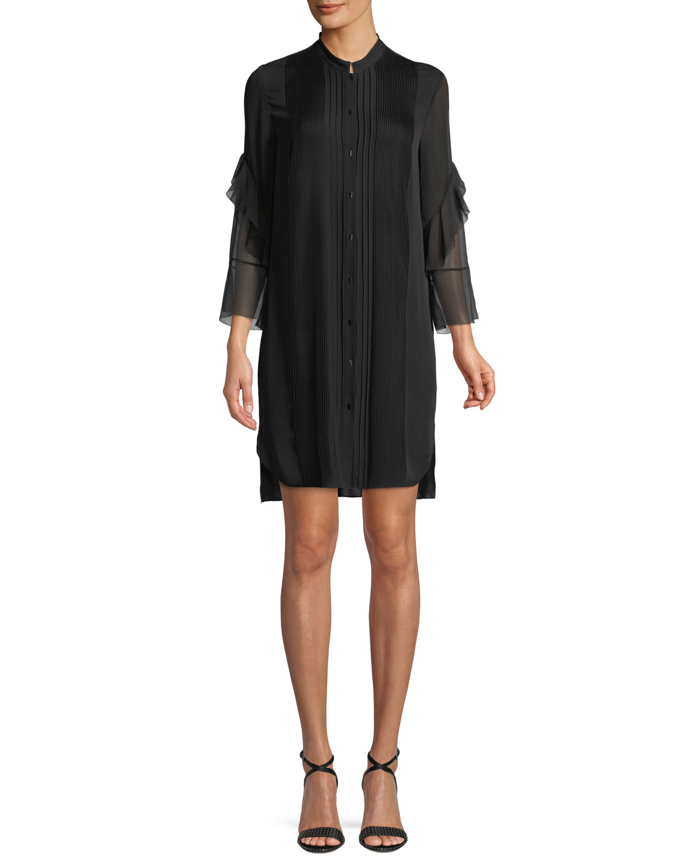 Elie Tahari Sawyer Ruffled Silk Shirt Dress Neiman Marcus