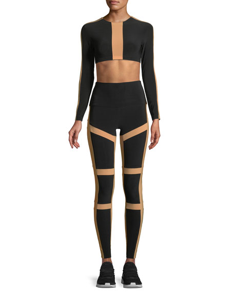 Spliced High-Waist Contrast Leggings