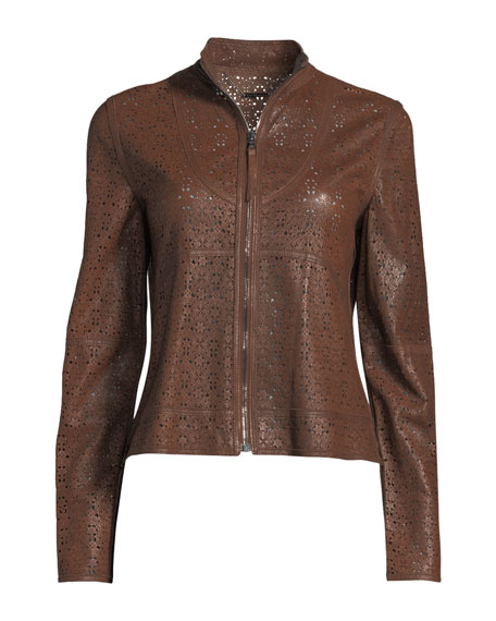 Highline Laser-Cut Leather Topper Jacket