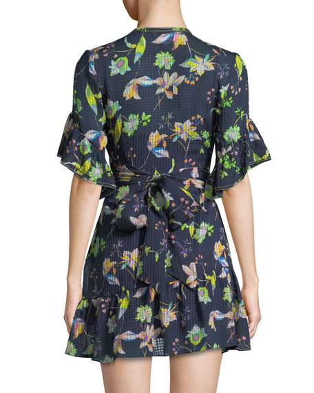 Brandy Garden-Print Silk Wrap Mini Dress