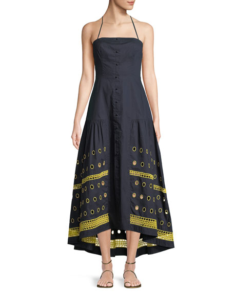 Renee Halter Button-Down Linen-Blend Dress w/ Graphic Eyelet-Hem