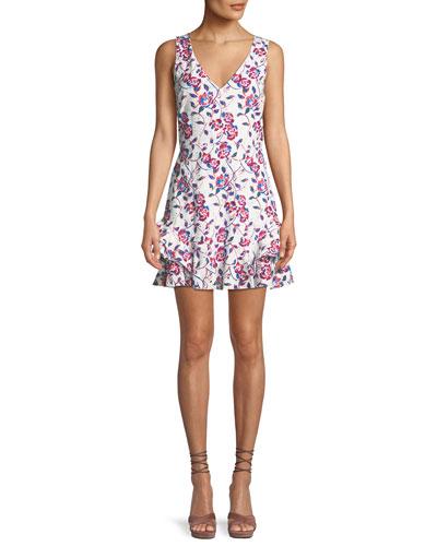 Tatum Ditsy Floral-Print V-Neck Sleeveless Cotton Eyelet Dress