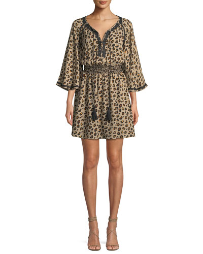 Kobi Halperin Mae Animal-Print Silk Dress