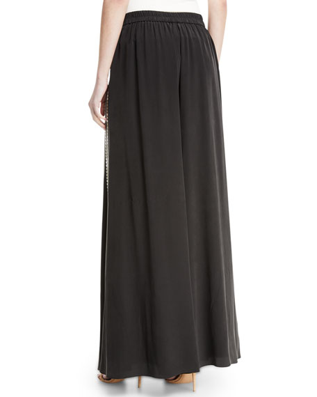 Giada Side-Stripe Wide-Leg Pants