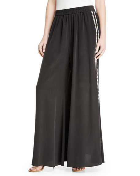 Kobi Halperin Giada Side-Stripe Wide-Leg Pants