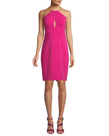Aidan Mattox Cutout Sleeveless Halter Cocktail Dress