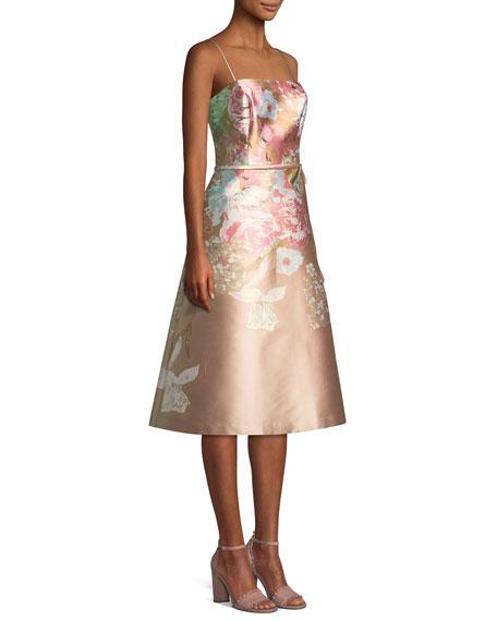 Metallic Floral Sleeveless Cocktail Dress
