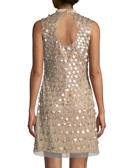 Embellished Sleeveless Keyhole Mini Dress