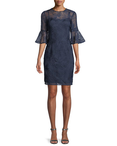 Swirl Bell-Sleeve Sheath Dress