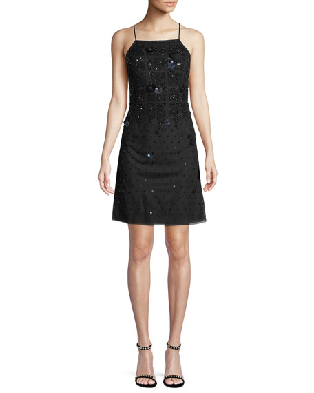 Aidan Mattox Sleeveless Embellished Mini Cocktail Dress