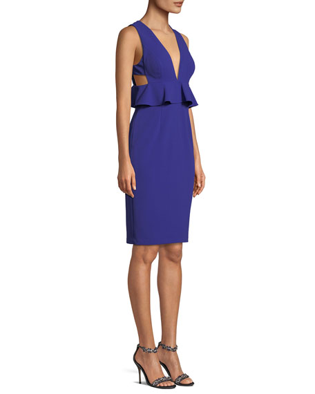Scuba Crepe Peplum Cocktail Dress w/ Side Cutouts