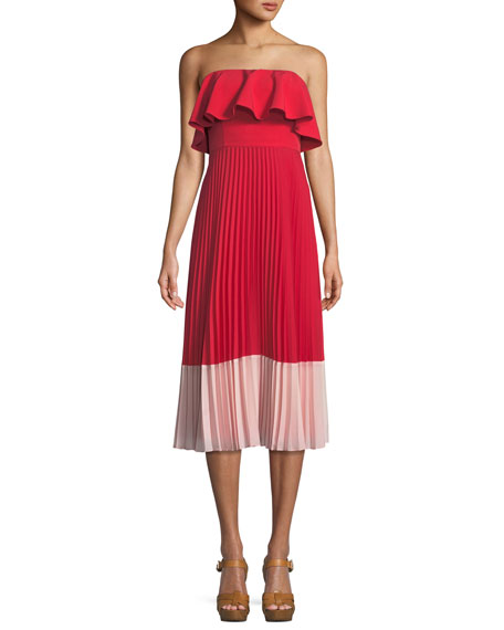 Aidan by Aidan Mattox Strapless Colorblock Popover Pleated