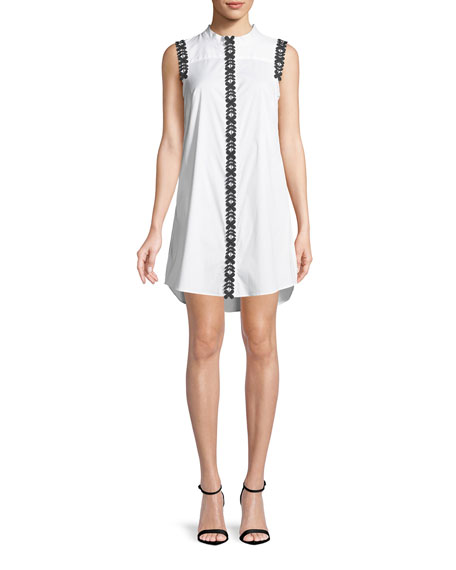 Foral-Appliqué Sleeveless Shirt Dress