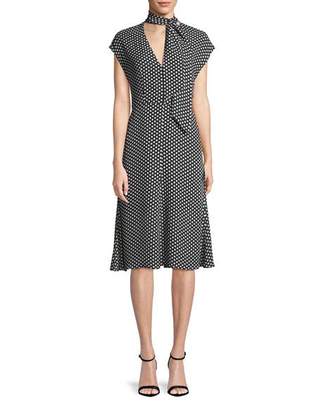 Milly Gabby Polka-Dot Silk Tie-Neck Dress