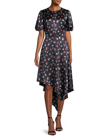 Milly Cynthia Floral-Print Silk-Stretch Dress