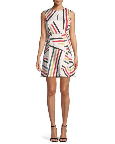 Alexa Directional-Striped Shift Dress