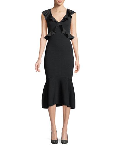 Usenmek Ruffled V-Neck Peplum Dress