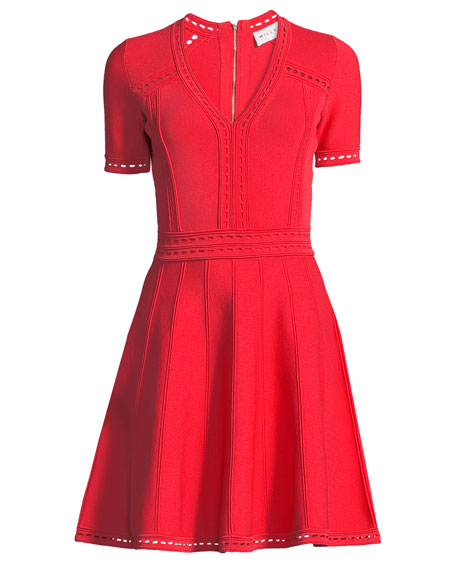 Milly Textured Pointelle Flare Dress