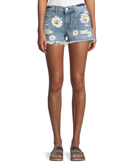 Cutoff Denim Shorts w/ Destroy & Daises