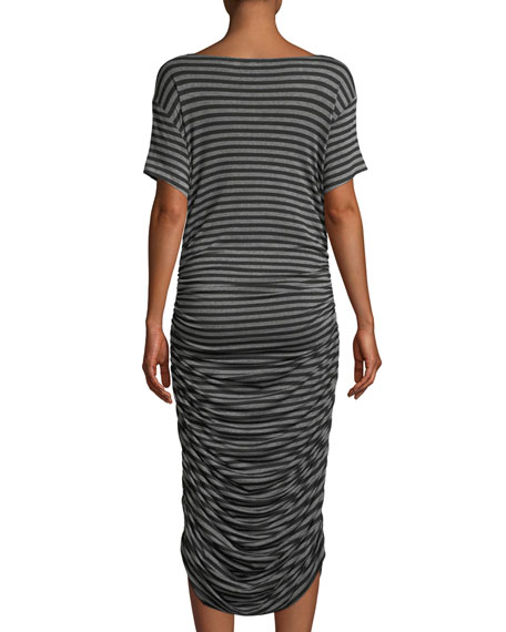 Shirred Scoop-Neck Striped Dress