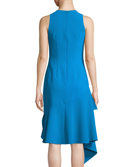Stretch Crepe Sleeveless Asymmetric Cocktail Dress