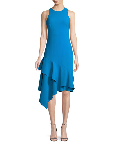 Stretch Crepe Sleeveless Asymmetric Cocktail Dress