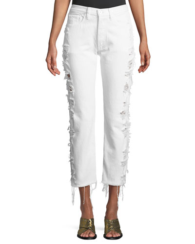 W3 Higher Ground Heavily Distressed Crop Straight-Leg