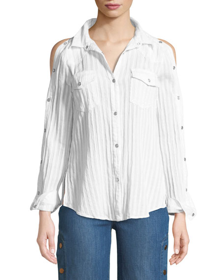 Stampede Snap-Up Long-Sleeve Poplin Top
