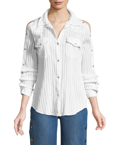 Bailey 44 Stampede Snap-Up Long-Sleeve Poplin Top