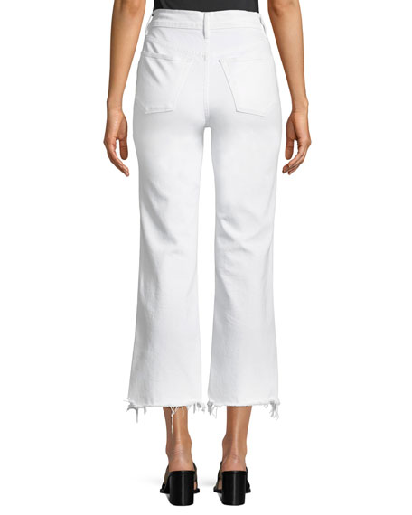 W4 Shelter Wide-Leg Crop Jeans w/ Raw-Edge Hem