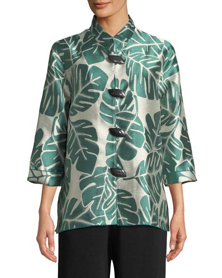 Paradise Palm Jacquard Mandarin-Collar Jacket