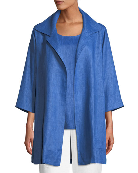 Caroline Rose Lanai Linen Topper Jacket, Plus Size