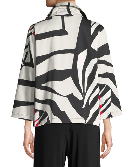 Plus Size Wild Card Ruched-Collar Zip-Front Jacket