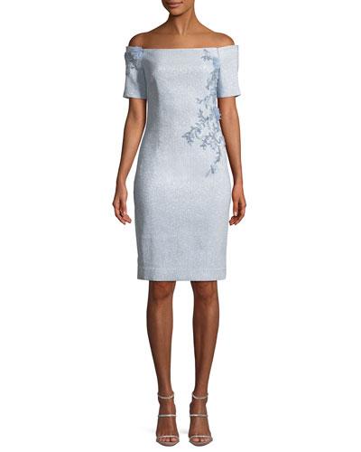Off-the-Shoulder Sheath Cocktail Dress w/ Beaded Trim