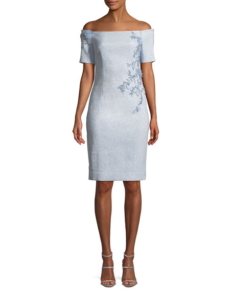 Off-the-Shoulder Sheath Cocktail Dress w/ Beaded Trim