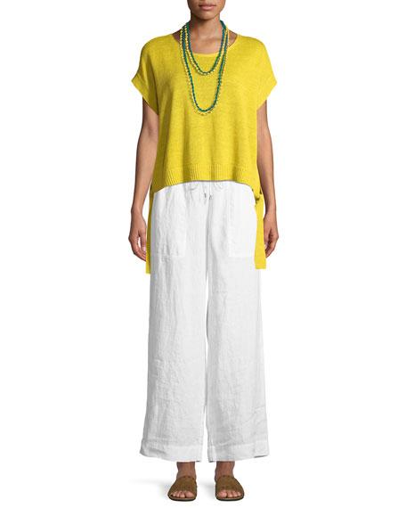 Organic Linen Side-Tie Short Poncho Top
