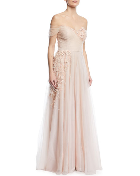 Rickie Freeman for Teri Jon Detailed Off-the-Shoulder Gown