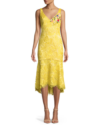 Lace V-Neck Dress w/ Floral Embroidery