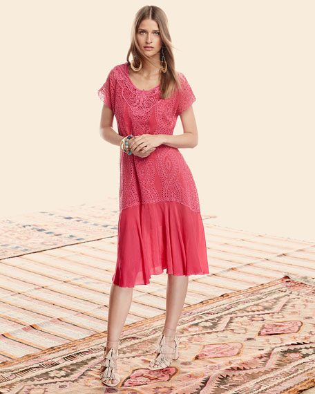 Halfrid Eyelet Dress with Chiffon Trim, Petite
