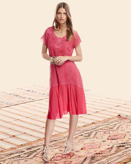 Halfrid Eyelet Dress with Chiffon Trim, Plus Size