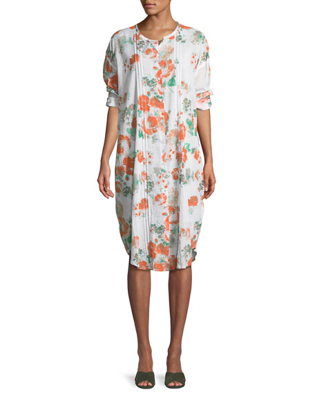 Narelle Floral-Print Button-Front Tunic