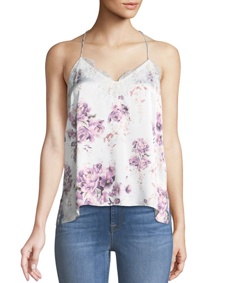 Cami NYC The Racer Silk Charmeuse Floral-Print Camisole