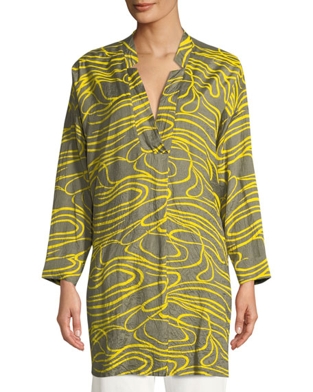 Gizanna Ribbons-Pattern V-Neck Tunic