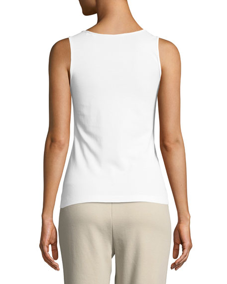 Joan Vass Petite Golden-Chain Sleeveless Cotton Tank Top