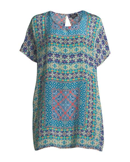 Tiffany Printed Silk Tunic w/ Keyhole Back
