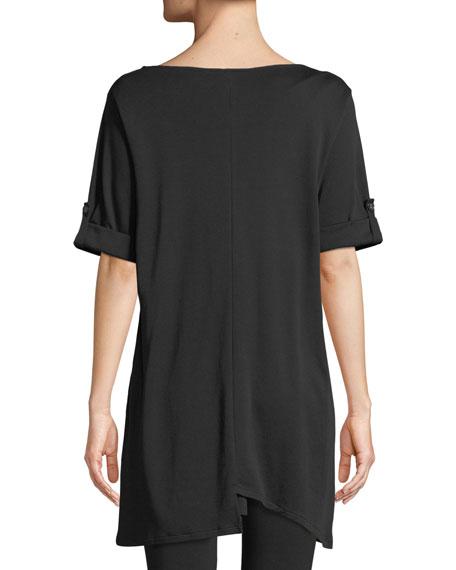 Petite Short-Sleeve Artistic Cotton Tunic