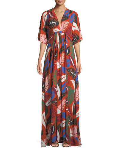Willow Crepe Botanical Leaf-Print Long Caftan Dress