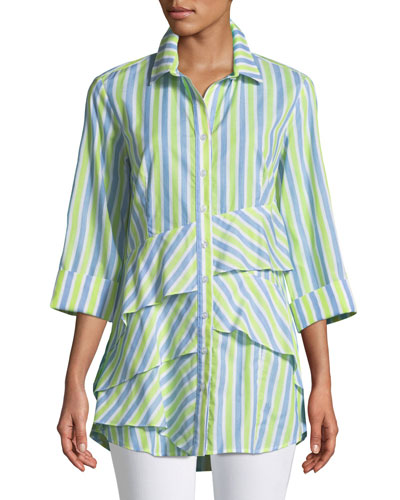 Jenna Striped Tiered-Ruffle Long Blouse, Plus Size