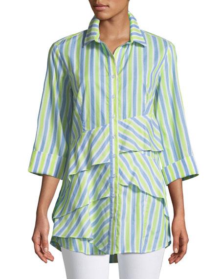 Jenna Striped Tiered-Ruffle Long Blouse, Plus Size